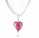 Satin Rose Heart Lampwork Ribbon Necklace Design Kit