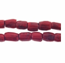 Large Red Coral 12-18mm Tube Beads 16 Inch Strand