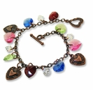 Antiqued Copper Swarovski  Charm Bracelet Design  Kit