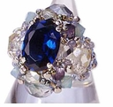 TOHO Elegant Jewelry Kits Glass Cubic Sapphire Ring