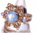 TOHO Elegant Jewelry Kits Flower Motif with Glass Cubic Ring