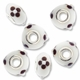 MIOVI� Lampwork Large Hole Beads w/SP Grommets 14x9mm White/Brown Floral Design (6PK)
