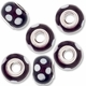 MIOVI� Lampwork Large Hole Beads w/SP Grommets 14x9mm Amethsyt/White Floral Design (6PK)