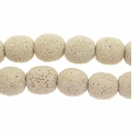 14mm Bone Round Lava Rock Beads 16 Inch Strand