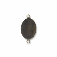 Antiqued Brass Plated 18x13mm Oval Link Cabochon Settings (5PK)