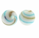 Hand Blown 13mm Round White Aqua Gold Swirl Glass Bead (1PC)