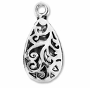 Antiqued Silver 26mm Teardrop Charms (5PK)