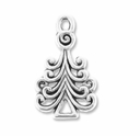Antiqued Silver Christmas Tree Charm (10PK)