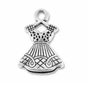 Antiqued Silver Ladies Dress Charm (5PK)
