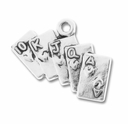 Antiqued Silver Royal Flush Charm (10PK)