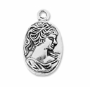 Antiqued Silver 28mm Lady Cameo Pendant Charm (5PK)