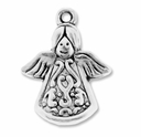 Antiqued Silver 21mm Angel Charms (5PK)