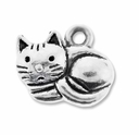 Antiqued Silver 12mm Cute Cat Charms (10PK)