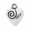 Antiqued Silver 14mm Swirl Decorative Heart Charms (10PK)