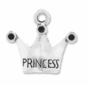 Antiqued Silver Princess Crown Charms (10PK)