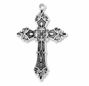 Antiqued Silver 56mm Decorative Cross Pendant