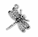 Antiqued Silver 23mm Dragonfly Charms (10PK)