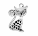 Antiqued Silver 32mm Large Cat Charms (5PK)