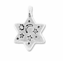 Antiqued Silver 19mm Celestial Star Charms (10PK)