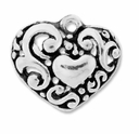 Antiqued Silver 17x21mm Filigree Heart Charms/Pendants (5PK)
