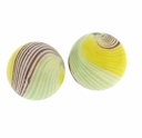 Hand Blown 13mm Round White Brown Yellow Green Swirl Glass Bead (1PC)