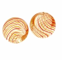 Hand Blown 13mm Round Clear Yellow Red Swirl Glass Bead (1PC)