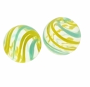 Hand Blown 13mm Round Clear Yellow Blue Swirl Glass Bead (1PC)