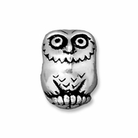 Antiqued Silver 11mm Owl Euro Large Hole Bead (1PC)