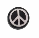 Peace Sign 15mm Round Flat Bone Bead (1PC)