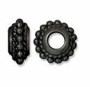 Black Finish 11mm Beaded Twist Euro Large Hole Bead (1PC)