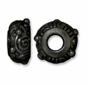Black Finish 11.5mm Spiral Euro Large Hole Bead (1PC)