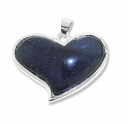 Blue Goldstone Heart Pendant (1PC)