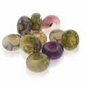 MIOVI� Mixed Agate Gemstone 14x8mm Large Hole Beads (10PK)