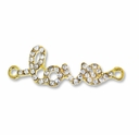 Gold Plated Brass Rhinestone LOVE Link (1PC)