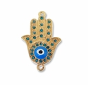 Gold Plated Blue Rhinestone Hamsa Hand 1-1 Link (1PC)