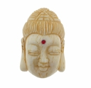 Hand Carved Bone 29mm Buddha Bead (1PC)