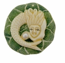 Hand Carved Bone 40mm Mermaid with Pearl Pendant