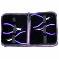 Purple 4-Piece  Pliers Set w/ Purple Leather Case