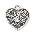 Antiqued Silver 15mm Scroll Heart Charm (10PK)