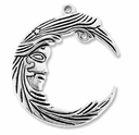 Antiqued Silver 37mm Moon Crescent Pendant Charm (2PK)