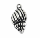 Antiqued Silver Conch Shell Charm  (5PK)