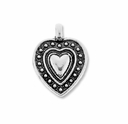Antiqued Silver 17mm Ornate Heart in Heart Charm (10PK)