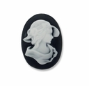 Cameo, Annie, White on Black 25x18mm Oval Cabochon (5PK)