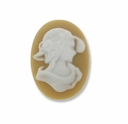 Cameo, Annie, White on Beige 25x18mm Oval Cabochon (5PK)
