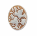 Cameo, Birds, White on Beige 27x20mm Oval Cabochon (5PK)