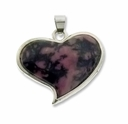 Rhodonite Heart 32mm Pendant (1PC)