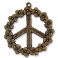 Antiqued Brass 40mm Peace Pendant (3PK)