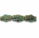 Porcelain Beads, light honey and pale green, 27x18mm-28x19mm carved barrel  (8 inch strand)