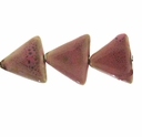Porcelain Beads, light honey and dark pink, 26x26x26mm-27x27x27mm puffed triangle  (8 inch strand)