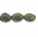 Porcelain Beads, light honey and pale green, 18x13mm-19x14mm oval  (15 inch strand)